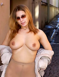 Busty flasher..