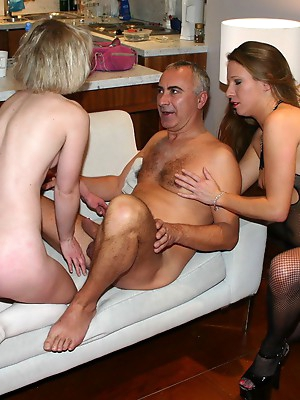 Old friends are having sex together. Amateur threesome sex, one man and two women dream of every guy.